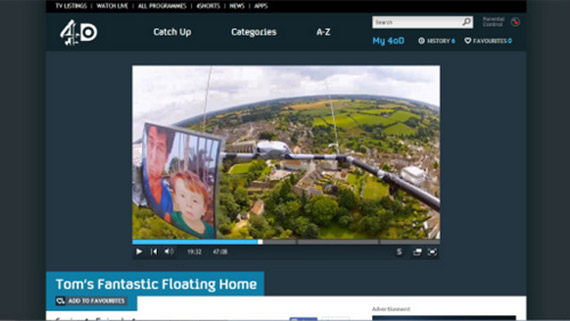 Commissioned flight for Twenty Twenty TV for Channel 4 'Tom's Fantastic Floating Home'